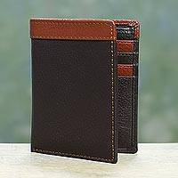 Men's leather wallet, 'Espresso Sienna Harmony' - Handsome Leather Wallet for Men in Espresso Brown and Sienna