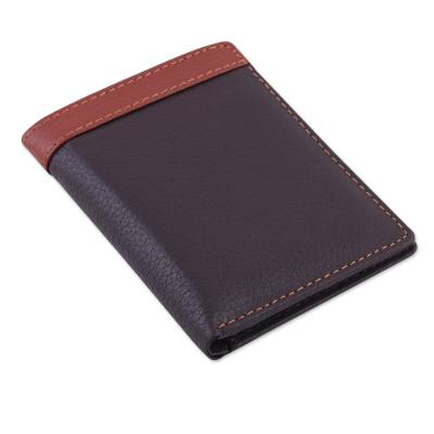 Handsome Leather Wallet for Men in Espresso Brown and Sienna
