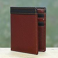 Men's leather wallet, 'Natural Harmony in Mahogany' - Mahogany and Black Handsome Leather Wallet for Men