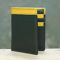 Men's leather wallet, 'Ivy Marigold Harmony' - Handsome Leather Wallet for Men in Dark Green and Yellow