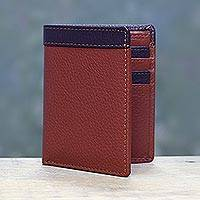 Men's leather wallet, 'Russet Chocolate Harmony' - Handsome Leather Wallet for Men in Russet and Chocolate