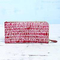 Batik cotton clutch, 'Cloven Cherry' - Batik Cotton Clutch Handbag in Cherry from India
