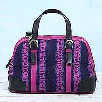 Leather accent batik cotton handbag, 'Magenta Reverie' - Batik Leather Accent Cotton Handle Handbag from India