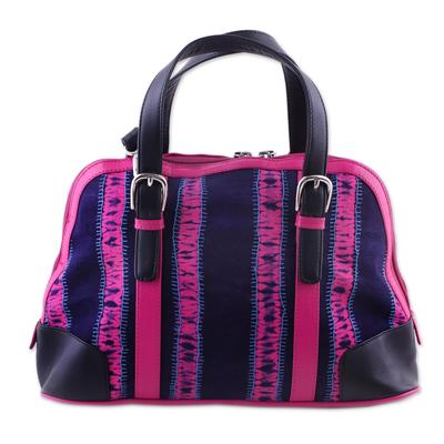 Batik Leather Accent Cotton Handle Handbag from India