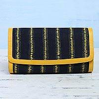 Leather accent cotton batik clutch, 'Maize Dreams' - Batik Striped Cotton Clutch in Maize and Black from India