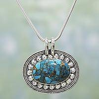 Sterling silver pendant necklace, 'Blissful Sky' - Indian Sterling Silver and Blue Composite Turquoise Necklace