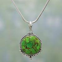 Sterling silver pendant necklace, 'Green Radiance'
