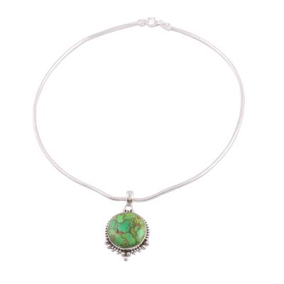 Sterling silver pendant necklace, 'Green Radiance' - Indian Sterling Silver Green Composite Turquoise Necklace