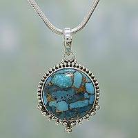 Sterling silver pendant necklace, 'Sweet Blue Radiance' - Indian Blue Composite Turquoise and 925 Silver Necklace