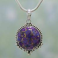 Sterling silver pendant necklace, 'Deep Purple Radiance' - Purple Composite Turquoise Necklace in Sterling Silver