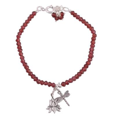 Garnet beaded bracelet, 'Dragonfly Lotus' - Garnet and Sterling Silver Beaded Bracelet from India