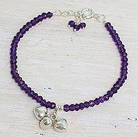 Amethyst beaded charm bracelet, 'Lavender Charisma' - Amethyst and Sterling Silver Beaded Bracelet from India