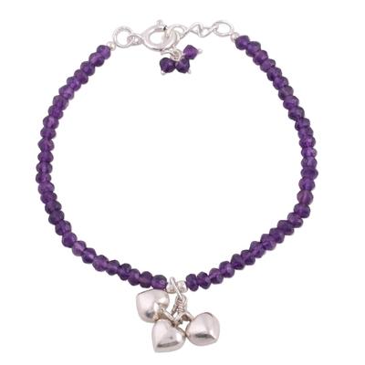 Amethyst beaded charm bracelet, 'Lavender Charisma' - Amethyst and Sterling Silver Beaded Bracelet from India