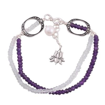 Fair Trade Amethyst Aquamarine Beaded Bracelet with Silver Lotus Charm