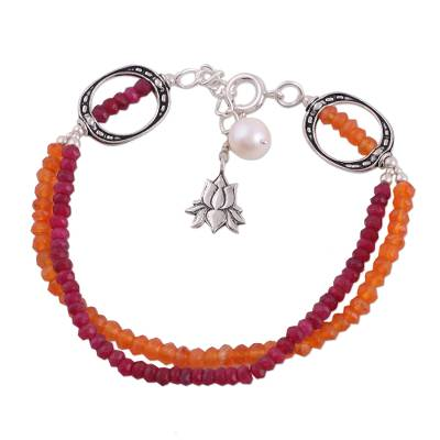 Multi-gemstone beaded bracelet, 'Lotus Fire' - Carnelian Ruby and Cultured Pearl Bracelet from India