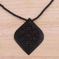 Ebony wood pendant necklace, 'Mughal Delight'