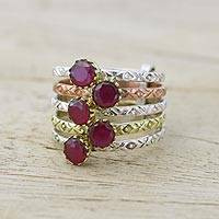 Ruby cocktail ring, 'Alluring Globes in Crimson' - Handmade Ruby and Sterling Silver Ring from India