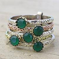 Green onyx multi-stone ring, 'Alluring Globes in Green' - Green Onyx and Sterling Silver Ring from India