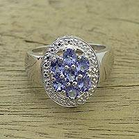 Tanzanite cocktail ring, 'Sparkling Splendor' - Rhodium Plated Tanzanite Cocktail Ring from India