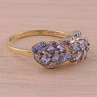Gold plated tanzanite and topaz ring, 'Dazzling Wisteria' - Gold Plated Tanzanite and White Topaz Multi Stone Ring