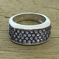 Tanzanite pave ring, 'Twilight Pathway' - Rhodium Plated Tanzanite Pave Ring from India