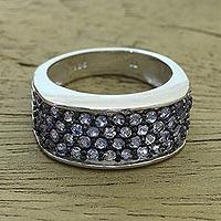Tanzanite pave ring, 'Twilight Pathway' - Rhodium Plated Tanzanite Pave Ring from India