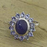 Rhodium plated tanzanite cocktail ring, 'Heavenly Depths' - Rhodium Plated Tanzanite Cocktail Ring from India