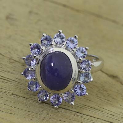 silver s necklace kit - Rhodium Plated Tanzanite Cocktail Ring from India