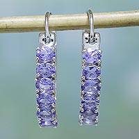 Rhodium plated tanzanite hoop earrings, 'Wisteria Sparkle' - Sparkling Tanzanite Hoop Earrings from India