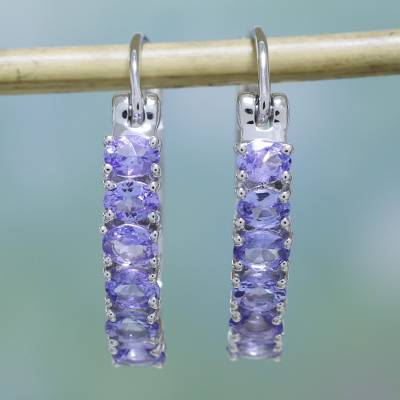 Rhodium Plated Tanzanite Hoop Earrings Wisteria Sparkle Sparkling From