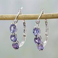 Rhodium plated tanzanite and topaz hoop earrings, 'Chic Glamour' - Tanzanite and Topaz Hoop Earrings from India
