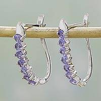 Rhodium plated tanzanite hoop earrings, 'Lilac Mysteries' - Rhodium Plated Purple Tanzanite Hoop Earrings from India