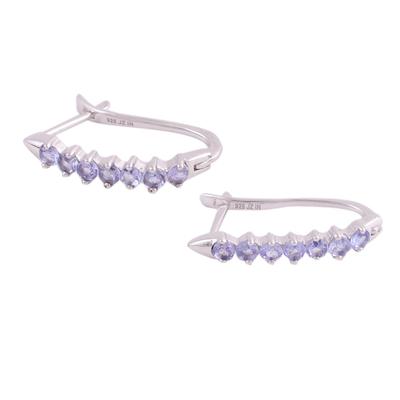 Rhodium Plated Purple Tanzanite Hoop Earrings from India