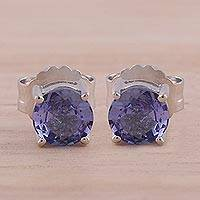 Rhodium plated tanzanite stud earrings, 'Crystal Waters' - Rhodium Plated Tanzanite Stud Earrings from India