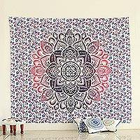 Cotton wall hanging, 'Glowing Flower' - Multicolored Printed Floral Cotton Wall Hanging from India