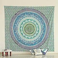 Cotton wall hanging, 'Royal Mandala' - Circle Motif Printed Cotton Wall Hanging from India