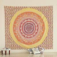 Cotton wall hanging, 'Sunshine Mandala' - Colorful Printed Cotton Wall Hanging from India