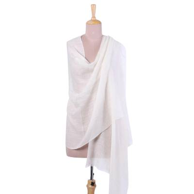 Cashmere shawl, 'Changthang Grace' - Handwoven Cashmere Wool Shawl in Natural from India