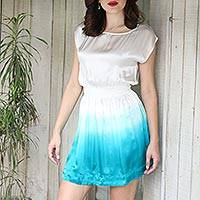 Silk minidress, 'Fade to Teal' - Short Ombre Dyed Dress in White and Teal Silk