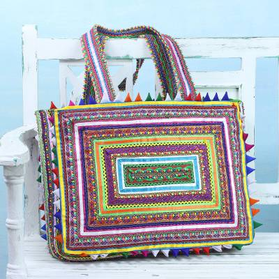 Cotton shoulder bag, 'Classic Patterns' - Handcrafted Rectangular Patchwork Shoulder Bag from India