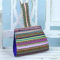 Cotton wristlet, 'Rick Rack' - Handcrafted Cotton Patchwork Wristlet Handbag from India