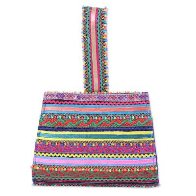 Handcrafted Cotton Patchwork Wristlet Handbag from India