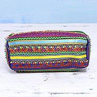 Embellished pouch, 'Joyful Stripes' - Handcrafted Multicolored Polyester Rabari Pouch from India