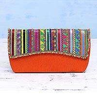 Embellished clutch, 'Vermilion Glamour' - Handcrafted Multicolored Polyester Rabari Clutch from India
