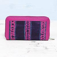 Cotton and leather accent wallet, 'Enchanted Berry' - Batik Cotton Leather Accent Wallet in Berry and Navy