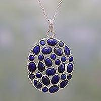 Lapis lazuli pendant necklace, 'Blissful Blues' - Lapis Lazuli and Sterling Silver Pendant Necklace from India
