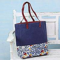 Leather accent batik cotton tote bag, 'Summer Blue' - Cotton and Leather Accent Tote Bag with Batik Floral Motif