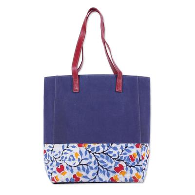 Novica Leather accent batik cotton tote bag, Summer Blue