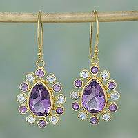Gold plated amethyst and blue topaz earrings, 'Life Sparkles' - Sparkling Amethyst and Blue Topaz Gold Plated Hook Earrings