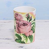 Decoupage porcelain vase, 'Rosy Arrangement' - Decoupage Porcelain Vase with Roses from India